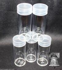 20 BCW Coin Tube QUARTER Holder Round Plastic Storage Tubes Screw Cap HOLDS 40