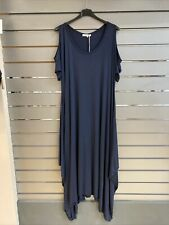 DIVERSO Navy ITALY JERSEY ASYMETRIC DRAPE DRESS  COLD SHOULDER -OSPLUS -BNWT