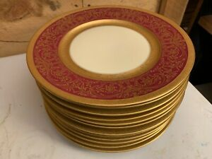 12 Elegant Chateau Gold Encrusted China Czechoslovakia Service Dinner Plates