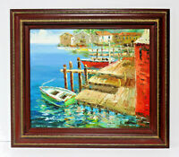 Harbor Dock Fishing Boats 20 x 24 Oil Painting on Canvas w/ Custom Wooden Frame