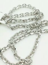 "14k Solid White Gold High Polish Cable Link Pendant Necklace Chain 22"" 3.1mm"