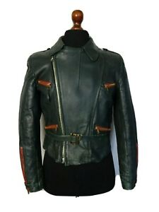 Men's Vintage Leather Luftwaffe Biker Jacket Size Small 38