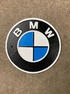 BMW Cast Iron Reproduction Sign Wall Plaque Car Garage Workshop Man Cave 24cm