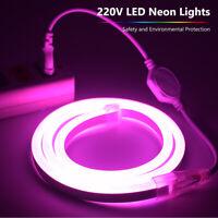 EU plug Soft LED Neon Glow Light Strips Rope 220V Waterproof 10/20/30/40/50m 1X