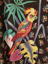 Vtg Kennington Mens Multi Color Floral Parrot Button Down Shirt Size XL