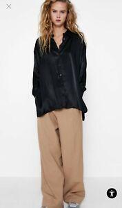 Zara black silky blouse (S) new