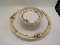 Noritake Hand-painted China white w/ gold 2-Tier Tidbit or Chip & Dip blue/peach