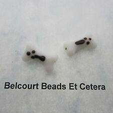 2 Glass White Dog Bone Beads 18x11mm by 6mm Wide
