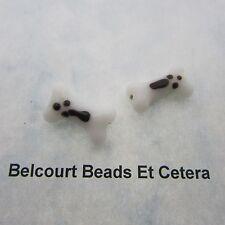 2 Glass White Dog Bone Beads 18x11mm by 6mm Wide