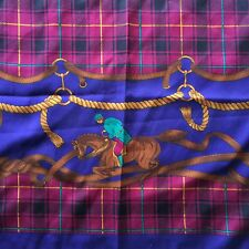 "34"" Scarf Rich Jewel Tones Equestrian Theme Made In ITALY"