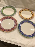 4 PC SANGO WATERCOLOR DINNER PLATES MELON PATCH APRICOT Strawberry Blueberry