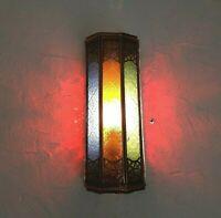 applique murale Marocaine fer forgé b lampe lustre lanterne verre sablé  32cm