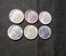 Lot of 6 Roosevelt Silver Dimes - 1955-S, 1956, 1957, 3x 1959