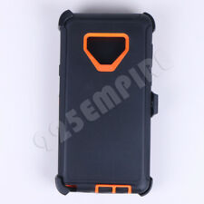 For Samsung Galaxy NOTE 9 Black/Orange Defender Case with(Clip Fits Otterbox)