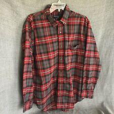 St. Johns Bay Mens Large Red Plaid Long Sleeve Shirt