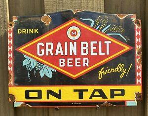 Vintage Grain Belt Beer Porcelain MN Brewerian Brewery Pub Bar Farm Gas Oil Sign
