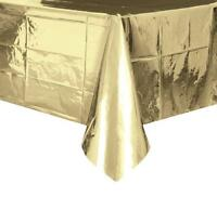 METALLIC GOLD PLASTIC RECTANGLE TABLECOVER BIRTHDAY PARTY SUPPLIES TABLECLOTH