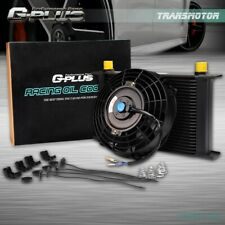"""25 Row AN AN10 Universal Engine Transmission Black Oil Cooler + 7"""" Universal Fan"""