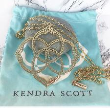 "Kendra Scott Betty Gold Plated Filigree Logo Pendent Necklace Rare 32"""