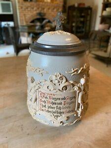 Vintage METTLACH VILLEROY & BOCH GERMAN BEER STEIN #1370 .50L CAMEO RELIEF