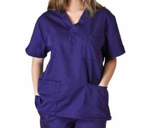 BLUE Men&Women Healthcare Nursing Vet 3-Pockets Scrub V-Neck Top+ 2pocks Pant