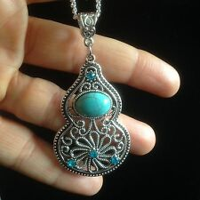 Necklace Silver Turquoise Crystals Statement Boho Hippie Bohemian Gypsy N1035
