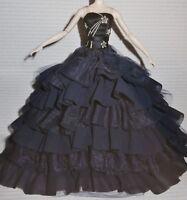 EVENING C ~ DRESS ~ BARBIE POSABLE SILKSTONE NAVY BLUE MIDNIGHT GLAMOUR GOWN