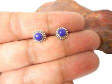 Round Blue  LAPIS   Sterling  Silver  925  Gemstone  STUD  Earrings  -  5 mm