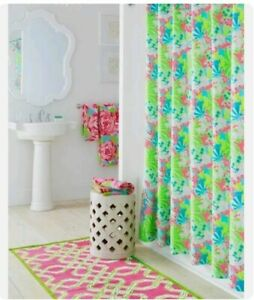 Lilly Pulitzer Garnet Hill Cotton Shower Curtain BLUE CHECKING IN Beachy Style