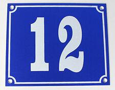 """Aluminium Hausnummer """"12"""" 12x10cm blau Hausnummernschild sofort lieferbar Schild"""