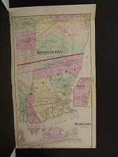 New York Long Island Map 1873 Huntington, Babylon, Oak Island, Double Page N3#63