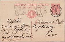 ITALIA 1917 INTERO POSTALE DA VERDERIO SUPERIORE COMO PER COMO