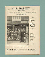 early 1900s mounted advert - c.e. bazley - cycle and motor agent . bridport