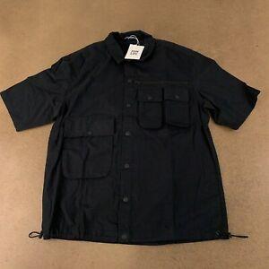 Bershka Men's Size Small Oversized Black Short Sleeve Multi-Pocket Snap Up Shirt