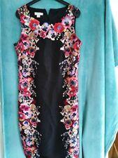 Ladies Monsoon Dress black/floral pattern.Size 10.Beading at neck. (Lot164LF)