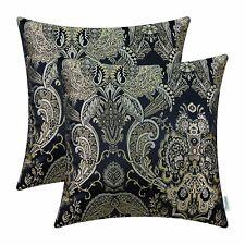Set of 2 Black Cushion Covers Pillows Shells Cases Home Jacquard Florals 45x45cm