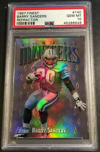 1997 BARRY SANDERS FINEST MASTERS SILVER REFRACTOR #140 PSA 10 POP 8