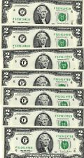 7- 1995 $2  FEDERAL RESERVE NOTES, CRISP, UNCIRCULATED, CONSECUTIVE NUMBERS