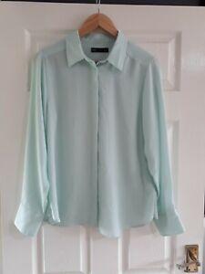 M&S Pale Aqua Blue Blouse Shirt Size 12 Workwear Smart Office Floaty Semi Sheer