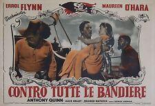 """""""A L'ABORDAGE (AGAINST ALL FLAGS)"""" Affiche italienne orig. entoil. (Errol FLYNN)"""