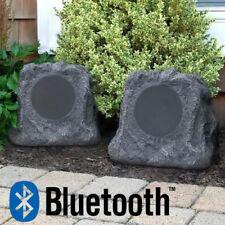 Pair Bluetooth Wireless Outdoor Rock Speakers Waterproof Patio Grey ITSBO-513P5