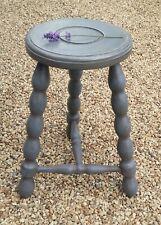 Vintage French Wooden MILKING STOOL, Bullseye,3 Bobbin Leggs, Painted Blue Grey