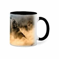 Howling Wolves Ceramic Coffee Tea Hot Chocolate Mug Black Rim Handle & Inside
