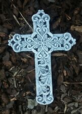 """Grabschmuck Kreuz """"Ornamente"""" (28,5cm)  Frostfest Steinguss Steinfigur Grab Deko"""