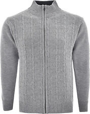 Mens Knitted Cardigan Classic Style Zipper Jumper With Front Pattern