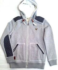 New Mens Voi Jeans Zip Through Odgen Fleece Lined Hoody Hoodie Light Marl SIZE S
