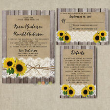 100 Rustic Wood Lace Sunflower Wedding Invitation Suite with Envelopes