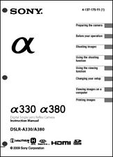 Sony DSLR Alpha A330 A380  Digital Camera User Guide Instruction  Manual