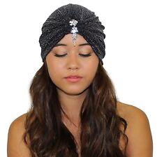 Velvet Great Gatsby Crystal Stretch Turban Headband Headwrap Ear Warmer Hat