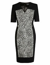 Per Una Speziale Cotton Rich Leopard Print Panelled Shift Dress Size 8 RRP £85
